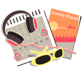 An illustration of a calendar and headphones