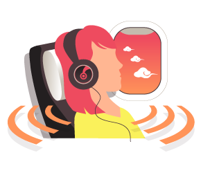 An illustration of a person enjoying hire headphones