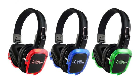 Many silent disco headphones feature brightly coloured LEDs that match the audio channel the wearer is tuned to
