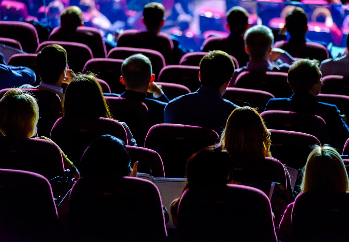 An image of an audience at a cinema screening