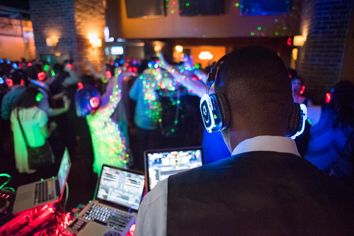 An image of silent disco headphones being used at a party