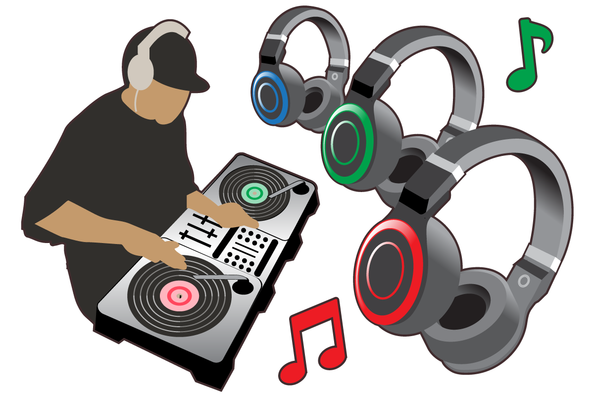 An illustration of a DJ playing tunes at a silent disco