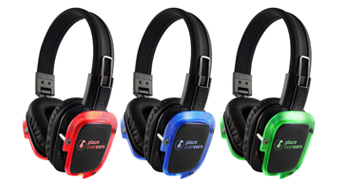 Our silent disco headphones light up the dancefloor with their bright LEDs