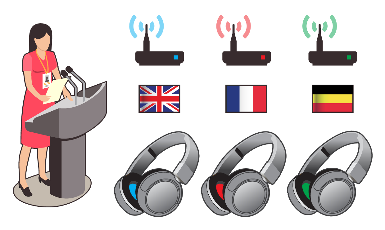 Headphone transmitter systems can broadcast multiple audio tracks simultaneously