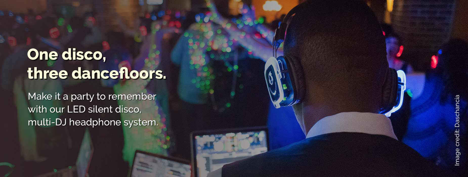 Silent disco headphones available to hire from Place Over Ears