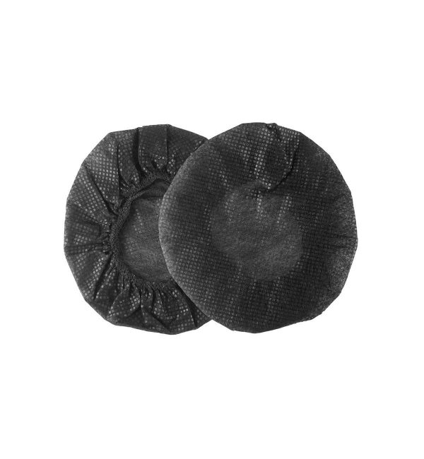 A pair of single use headphone hygiene covers